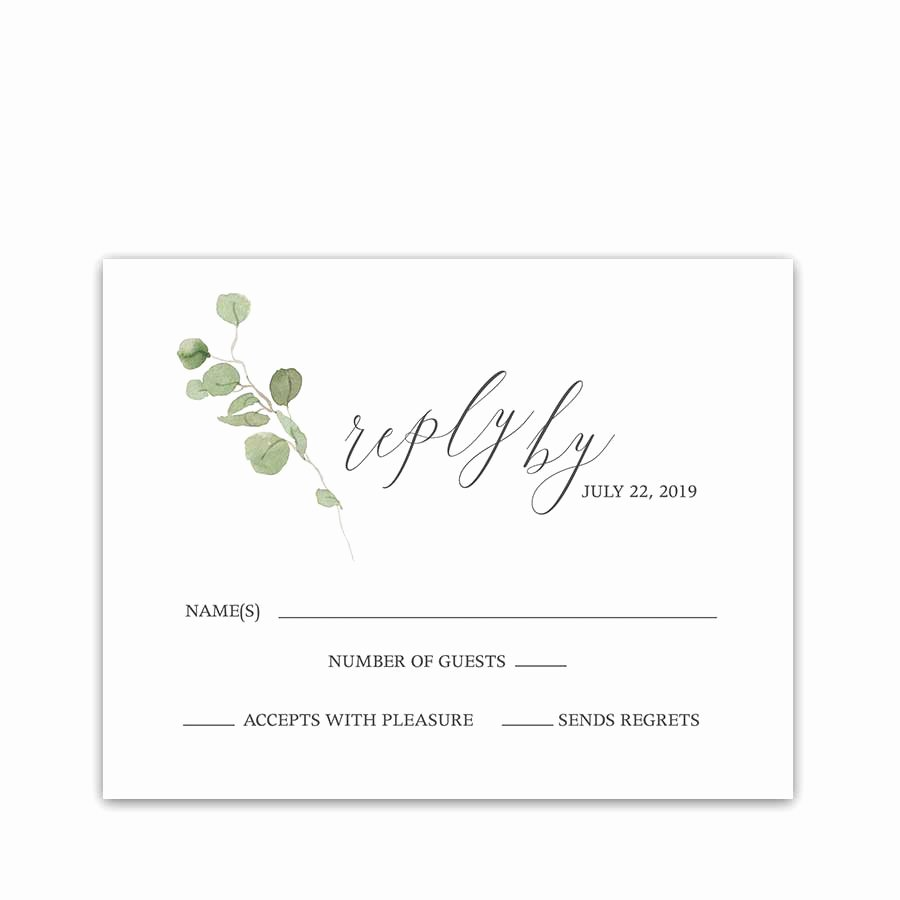 Wedding Rsvp Card Template Luxury Save the Date Postcards Calligraphy Watercolor Eucalyptus