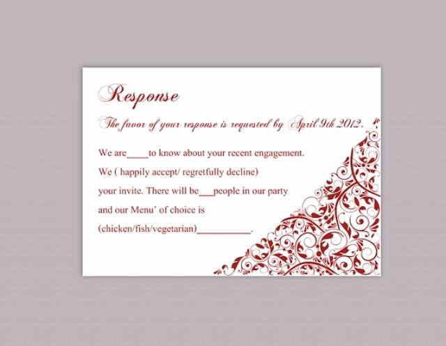 Wedding Rsvp Card Template Unique Diy Wedding Rsvp Template Editable Text Word File Download