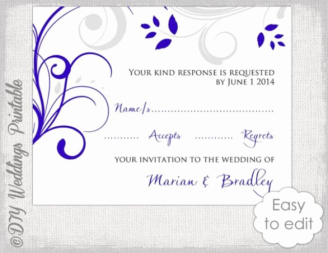 Wedding Rsvp Cards Template Awesome Response Card Template Diy Royal Blue & Silver Gray