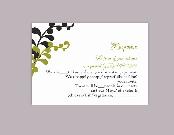Wedding Rsvp Cards Template Beautiful Diy Wedding Rsvp Template Editable Text Word File Download