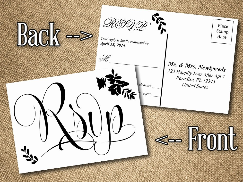 Wedding Rsvp Cards Template Elegant Diy Wedding Rsvp Postcard Word Template Vintage Romance