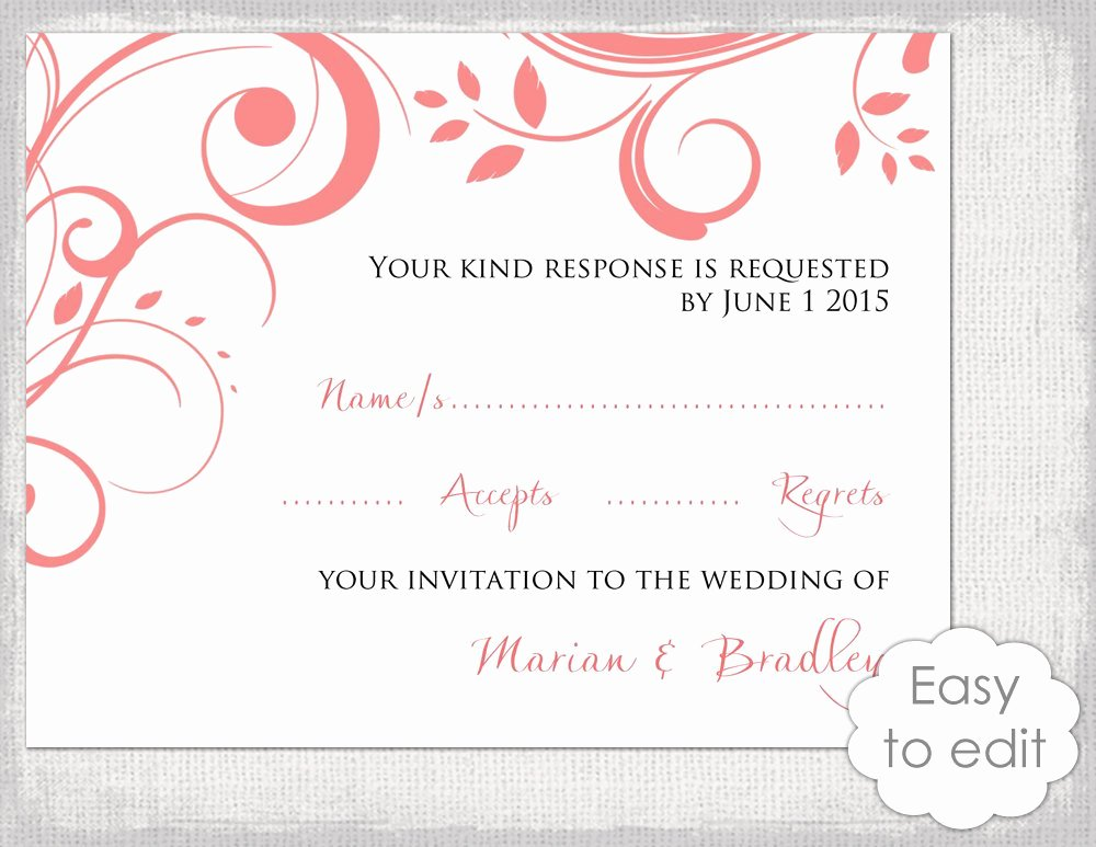 Wedding Rsvp Cards Template Elegant Wedding Rsvp Card Template Diy Coral Scroll
