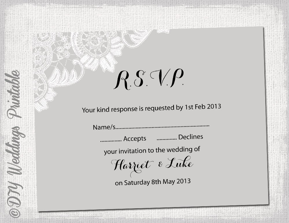 Wedding Rsvp Cards Template Elegant Wedding Rsvp Template Diy Silver Gray Antique