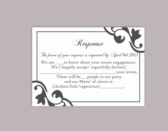 Wedding Rsvp Cards Template Fresh Diy Wedding Rsvp Template Editable Text Word File Instant