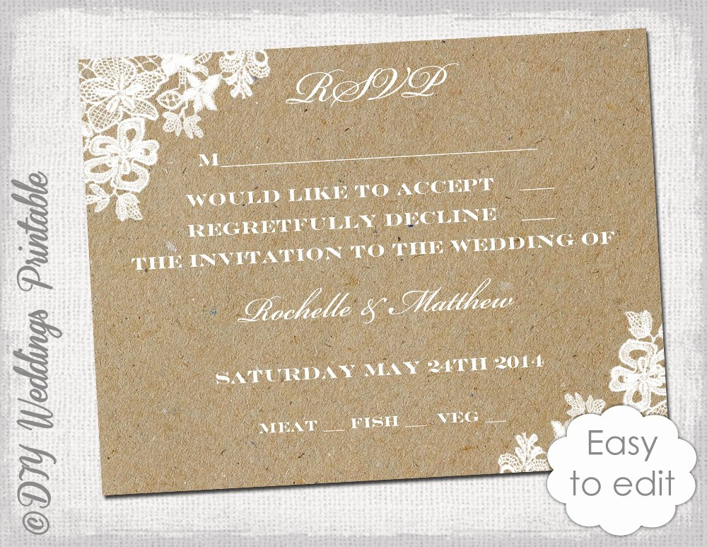 Wedding Rsvp Cards Template Fresh Wedding Rsvp Template Rustic Lace Printable
