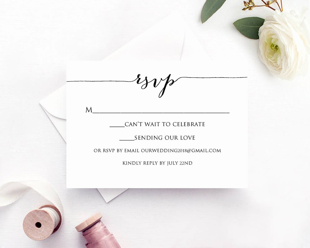 Wedding Rsvp Cards Template Lovely Rsvp Card Printable Template · Wedding Templates and