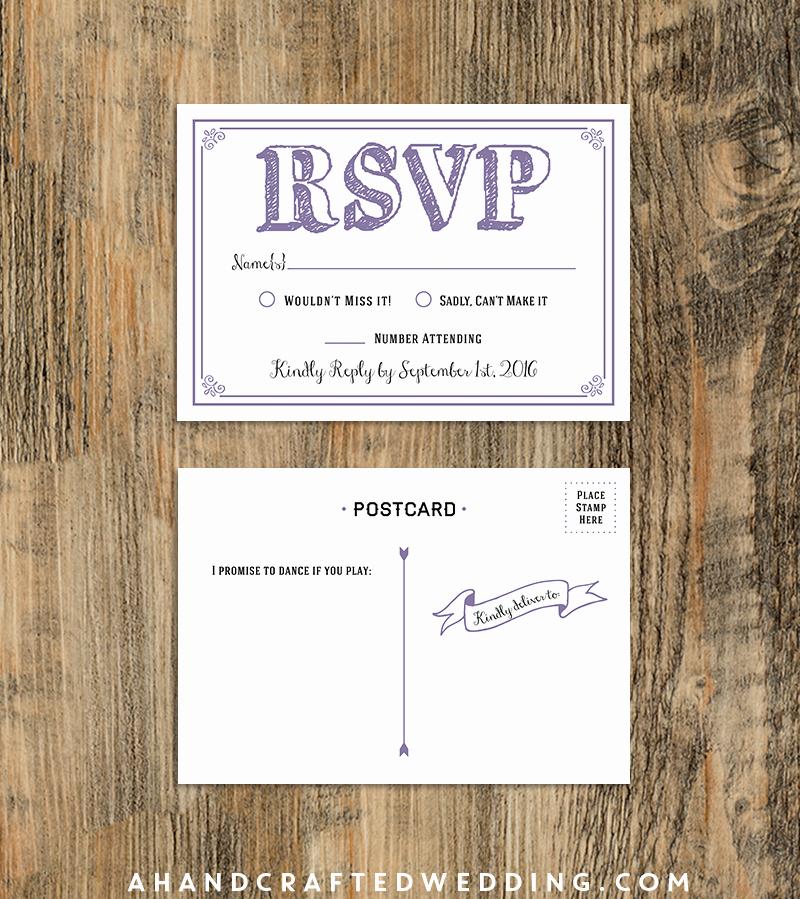 Wedding Rsvp Postcards Template Awesome $10 Rsvp Postcard Lavender Sample Diy Rsvp Postcard