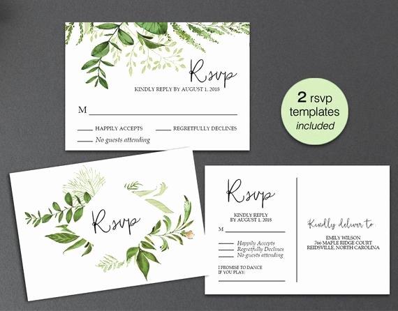 Wedding Rsvp Postcards Template Beautiful Rsvp Card Rsvp Postcard Rsvp Template Greenery Wedding Rsvp