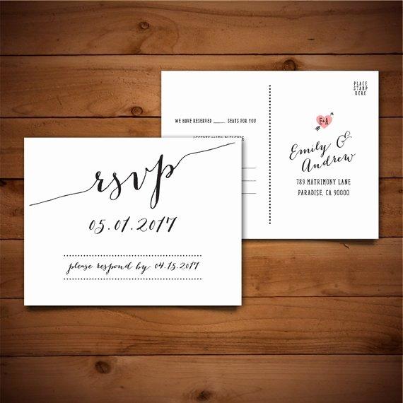 Wedding Rsvp Postcards Template Fresh Items Similar to Rsvp Diy Wedding Template Rsvp