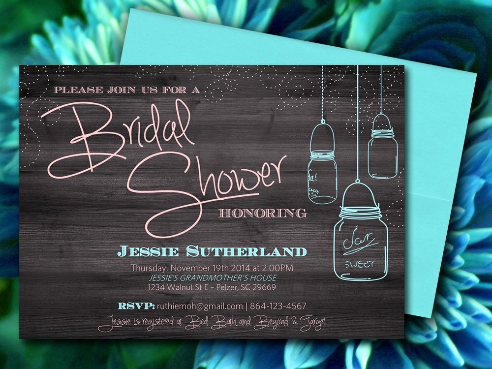 Wedding Shower Invitations Template Best Of Mason Jar Wood Bridal Shower Invitation Rustic Wedding Shower