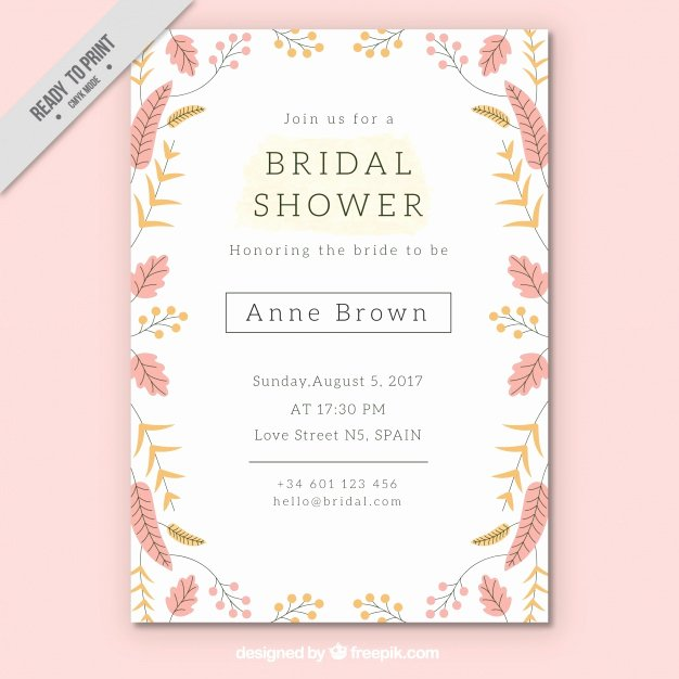 Wedding Shower Invitations Template Elegant Pretty Bridal Shower Invitation Template with Colored