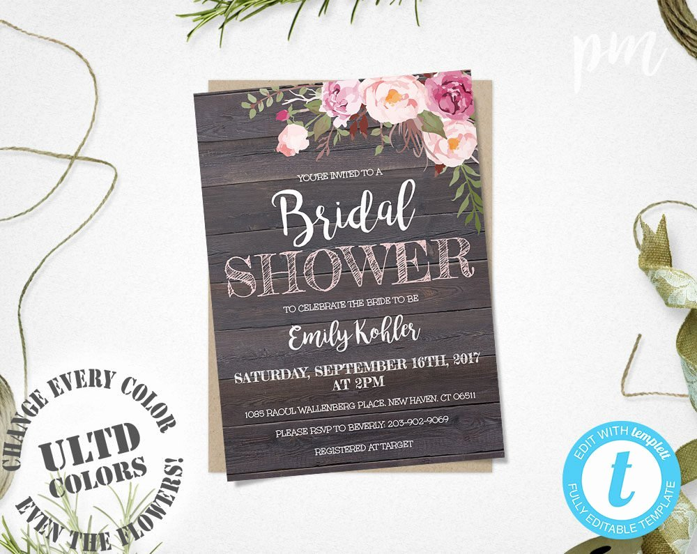 Wedding Shower Invitations Template Elegant Rustic Floral Bridal Shower Invitation Template Printable