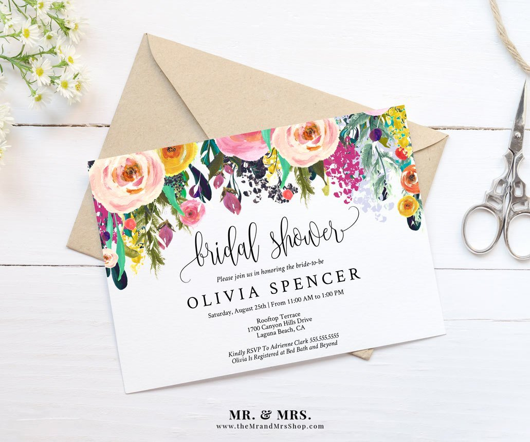 Wedding Shower Invitations Template Inspirational Editable Watercolor Floral Bridal Shower Invitation Template