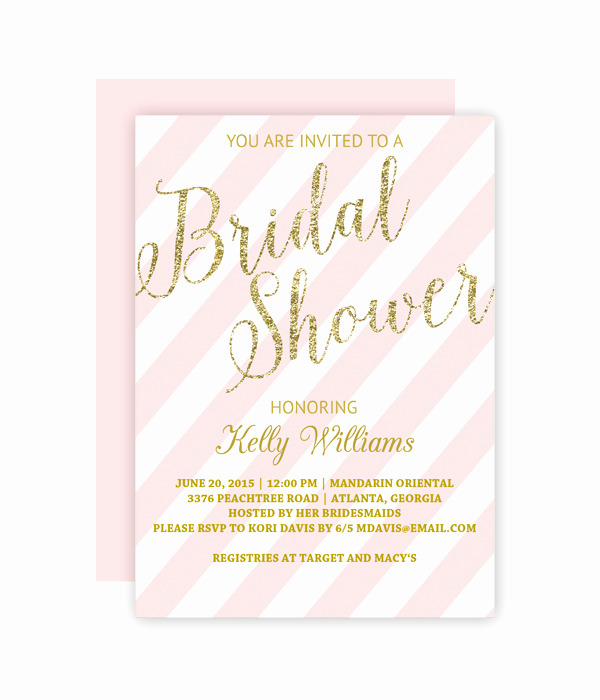 Wedding Shower Invitations Template Inspirational Glitter and Blush Bridal Shower Invitation Chicfetti