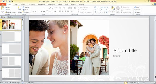 Wedding Slideshow Template Powerpoint Lovely Anniversary Album Template for Powerpoint 2013