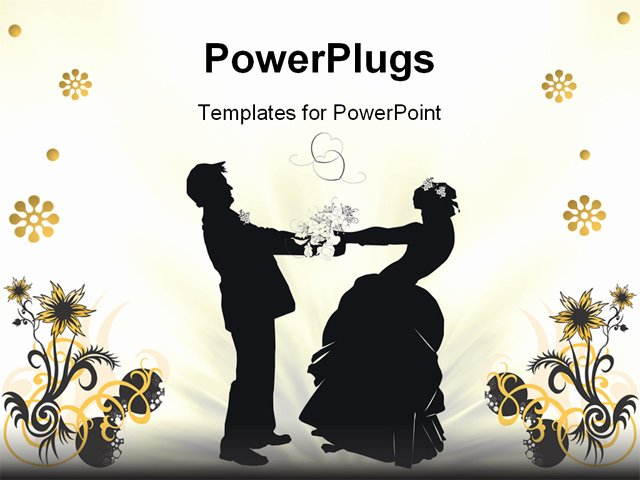 Wedding Slideshow Template Powerpoint Luxury Illustration with Wedding Couple Silhouette isolated On
