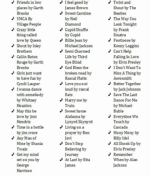 Wedding song List Template Beautiful 34 Must Have songs at Your Wedding Reception