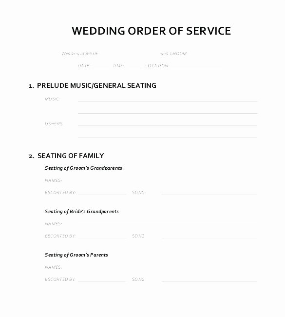 Wedding song List Template Beautiful Blank Wedding order Service Template for Download