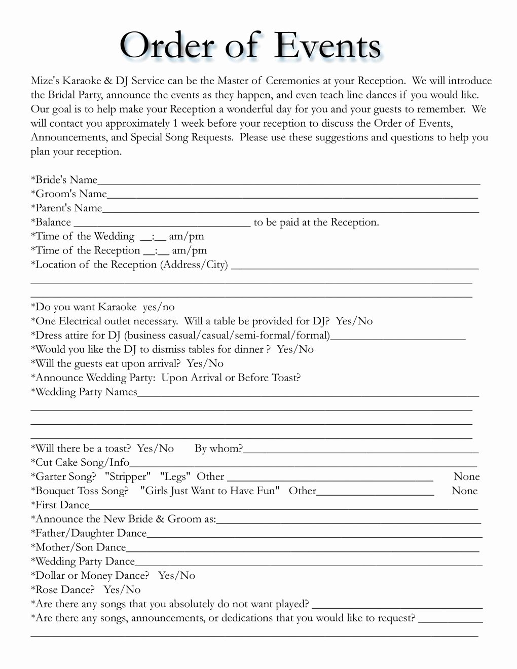 Wedding song List Template New Wedding Itinerary Templates Free