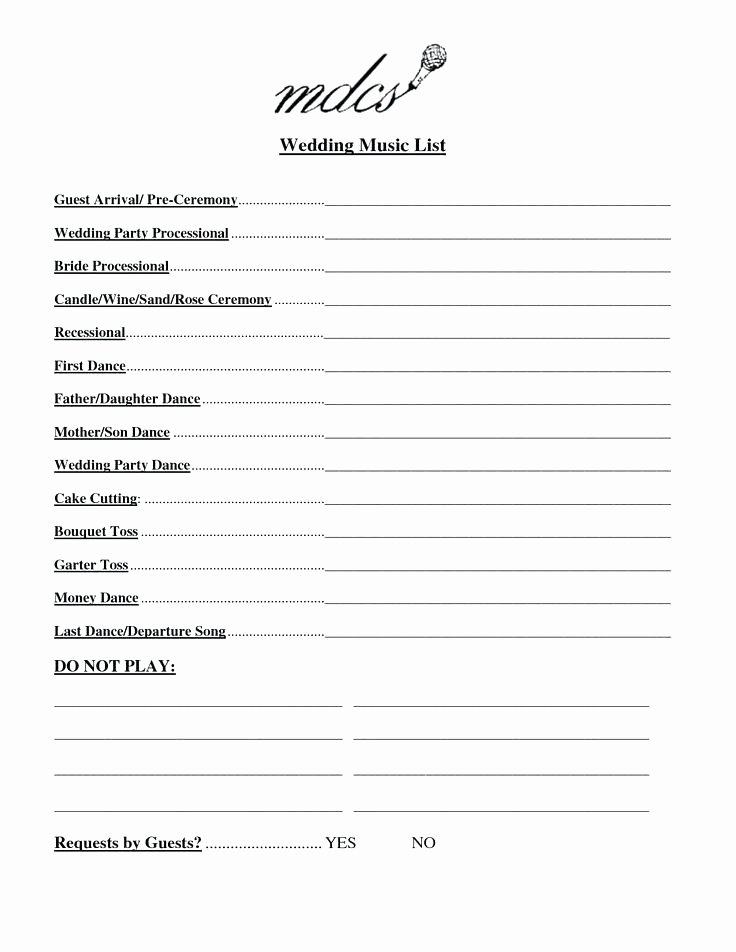 Wedding song List Template Unique Wedding song List Template Fresh Day Schedule Checklist
