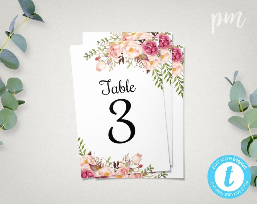 Wedding Table Card Template Beautiful Floral Wedding Table Numbers Template 4x6 Printable Table