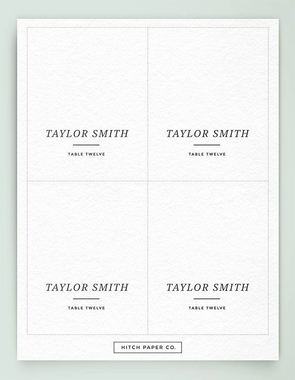 Wedding Table Card Template Best Of Name Card Template – 16 Free Sample Example format