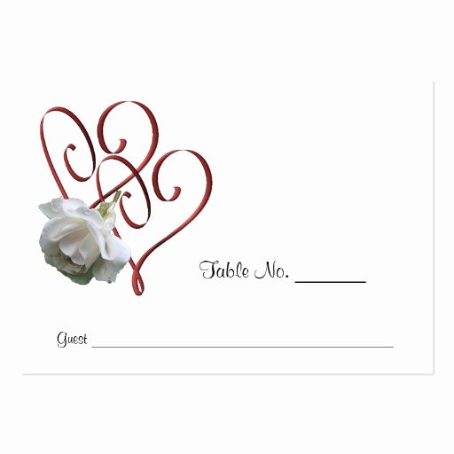 Wedding Table Card Template Elegant White Rose Heart Wedding Table Place Cards Business