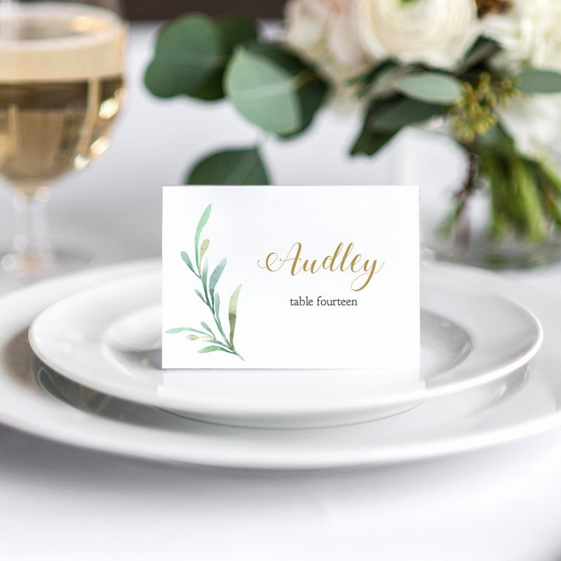 Wedding Table Card Template Unique Greenery Wedding Table Place Card Template Flat and Folded