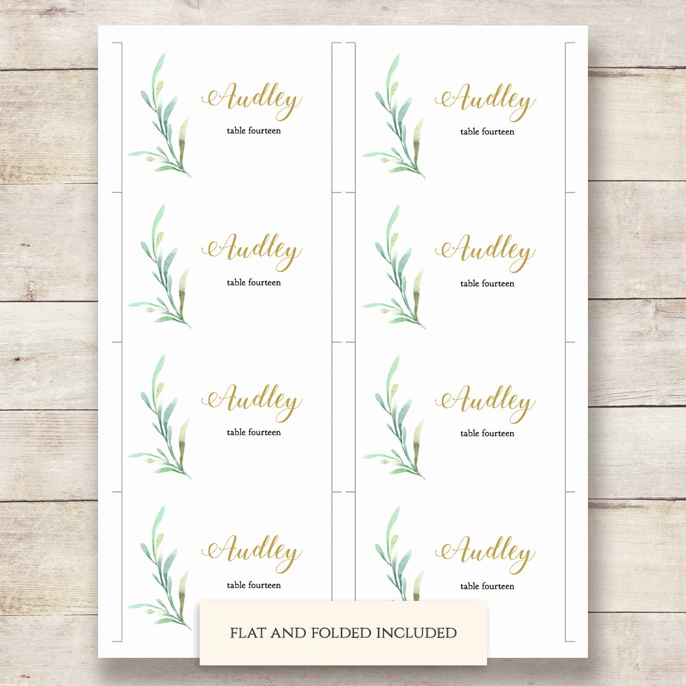 Wedding Table Cards Template Beautiful Greenery Wedding Table Place Card Template Flat and Folded