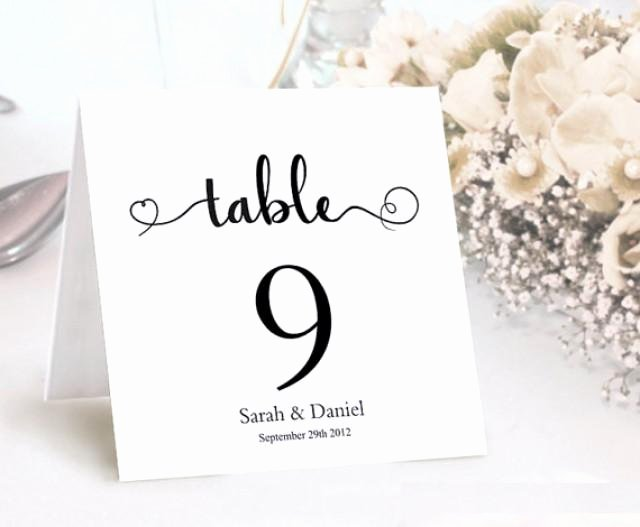 Wedding Table Cards Template New Table Numbers Printable Wedding Table Card Template Diy