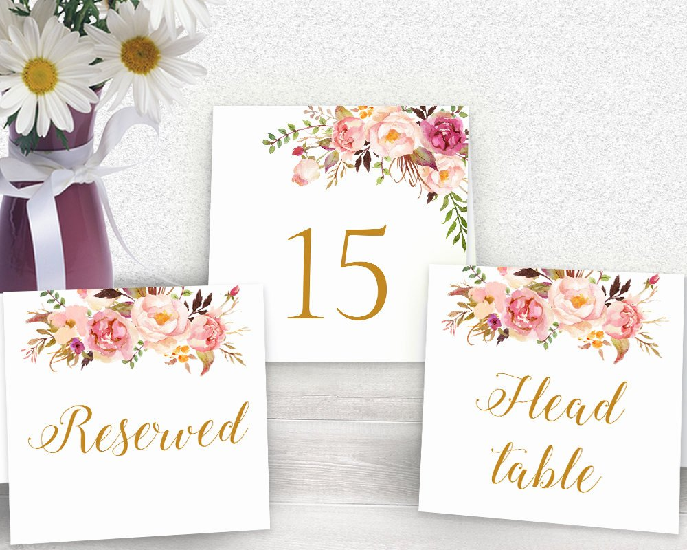 Wedding Table Number Template Awesome Floral Wedding Table Number Template Floral Printable Table