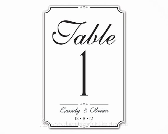Wedding Table Number Template Beautiful 7 Best Of Wedding Table Numbers Printable 4x6