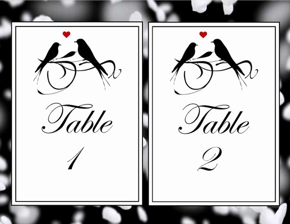 Wedding Table Number Template Elegant Printable Table Numbers Wedding Table Numbers Printable Love
