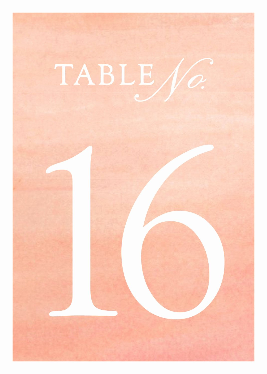 Wedding Table Number Template Luxury Wedding Table Numbers Templates In Coral Watercolor 5x7