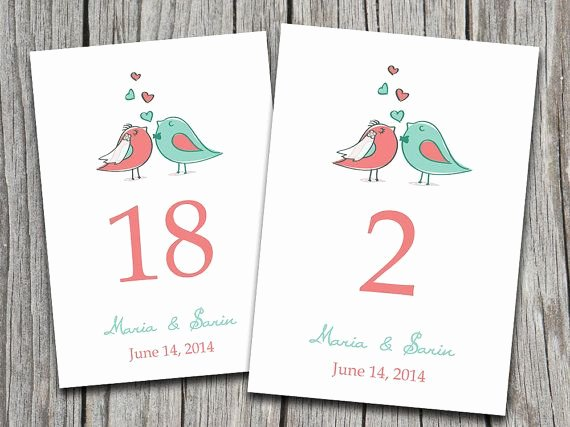 Wedding Table Number Template New Love Bird Wedding Table Number Template Coral Mint