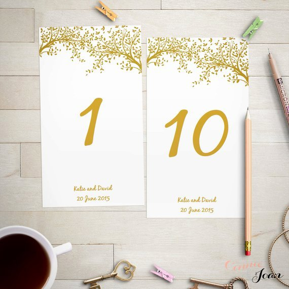 Wedding Table Numbers Template Awesome Wedding Table Number Template Gold Leaves Editable Wedding