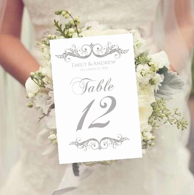 Wedding Table Numbers Template Elegant Wedding Table Numbers Template Instant Download Charcoal