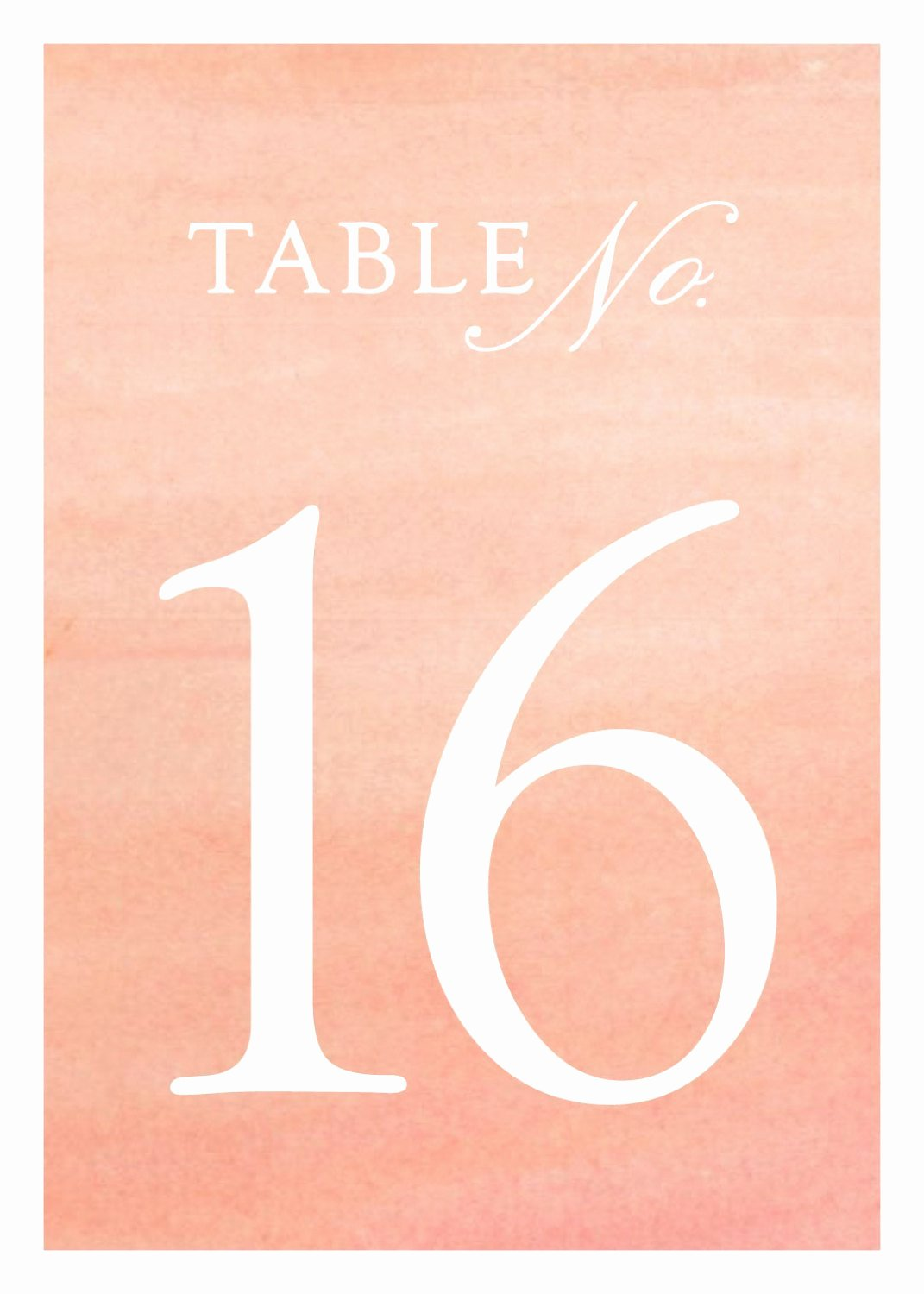 Wedding Table Numbers Template Lovely Wedding Table Numbers Templates In Coral Watercolor 5x7