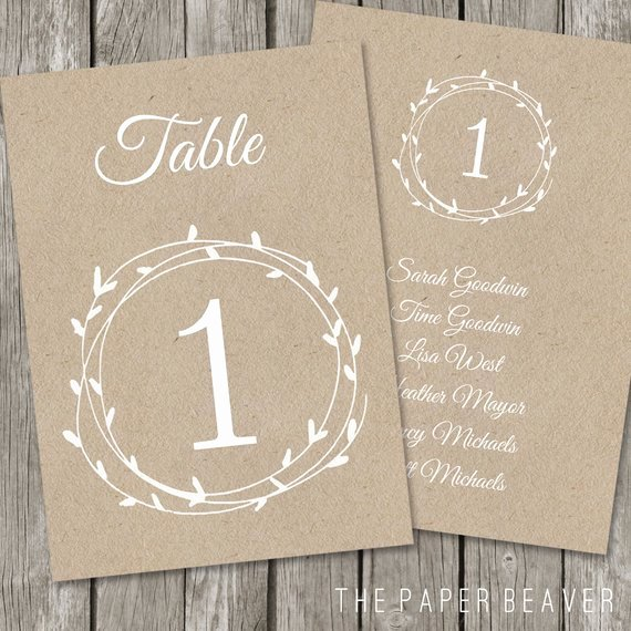 Wedding Table Numbers Template Unique Printable Table Number for Weddings Diy Kraft Rustic