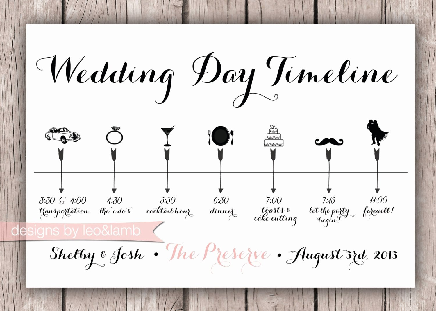 Wedding Timeline Template Free Fresh Custom Wedding Timeline 5x7 Digital File