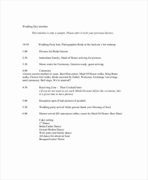 Wedding Timeline Template Free Lovely 10 Wedding Timeline Templates Free Sample Example