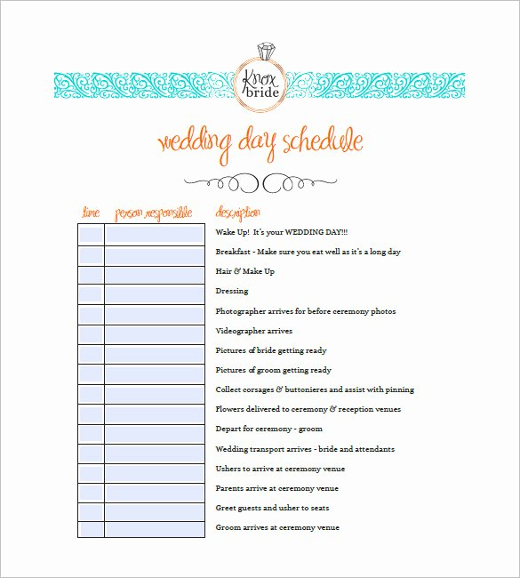 Wedding Timeline Template Free New 9 Wedding Agenda Templates Free Sample Example format