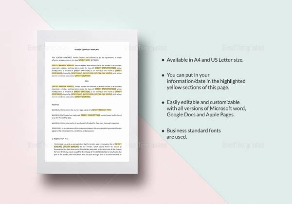 Wedding Vendor Contract Template Best Of 14 Vendor Contract Templates – Samples Examples & format
