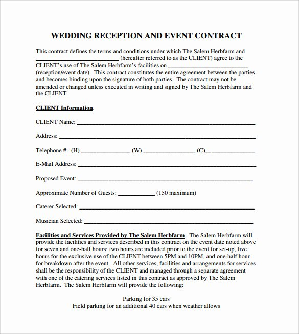 Wedding Vendor Contract Template Unique 19 event Contract Templates to Download for Free