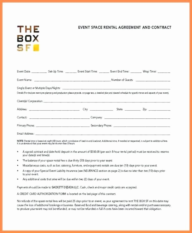 Wedding Vendor Contract Template Unique event Space Rental Agreement Template