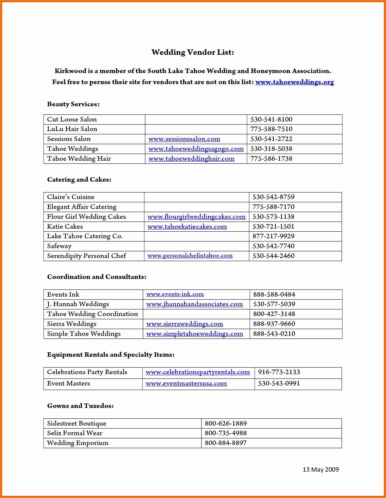 Wedding Vendors List Template Beautiful 28 Of Vendor Contact Log Template