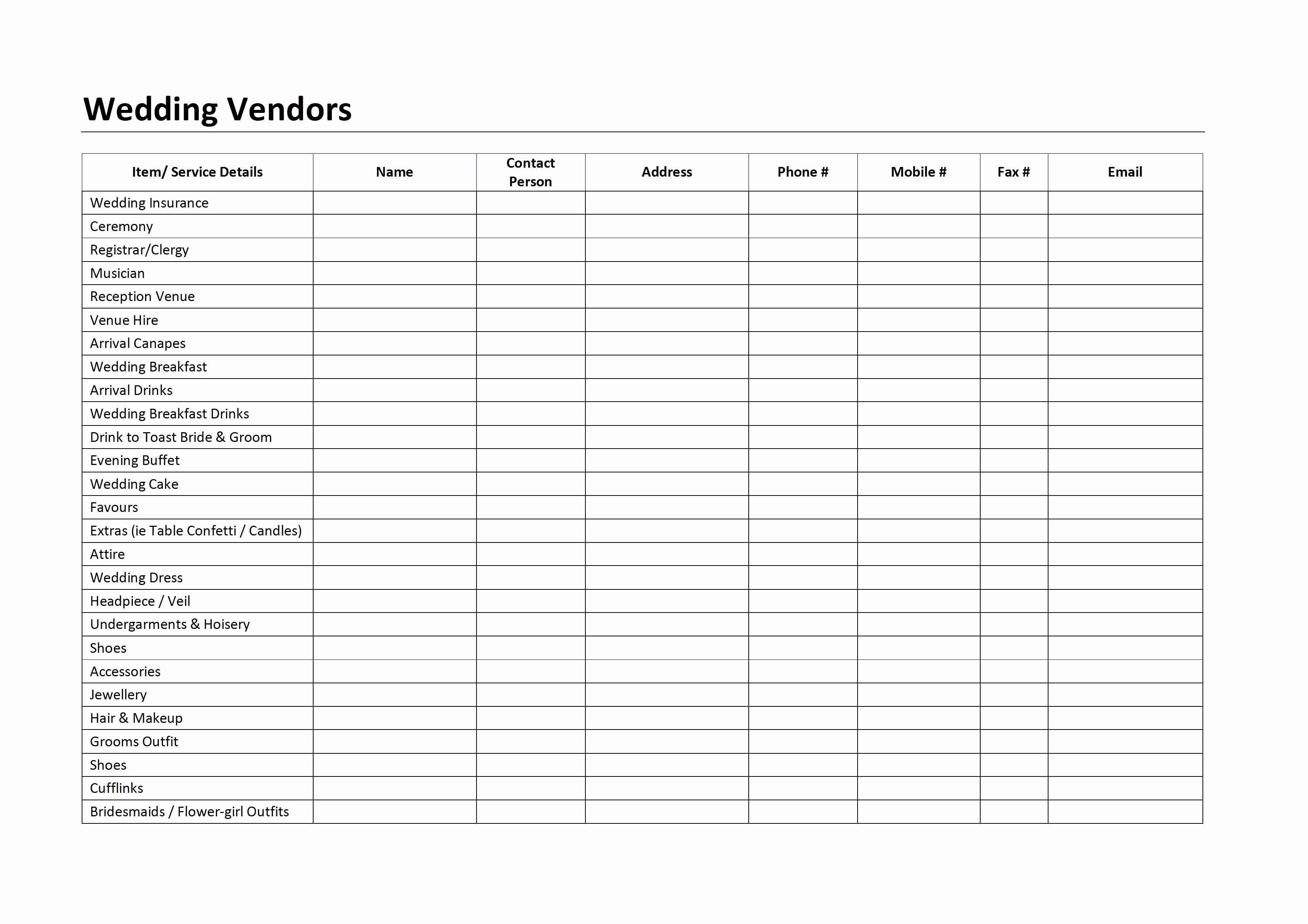 Wedding Vendors List Template Fresh Wedding Vendors