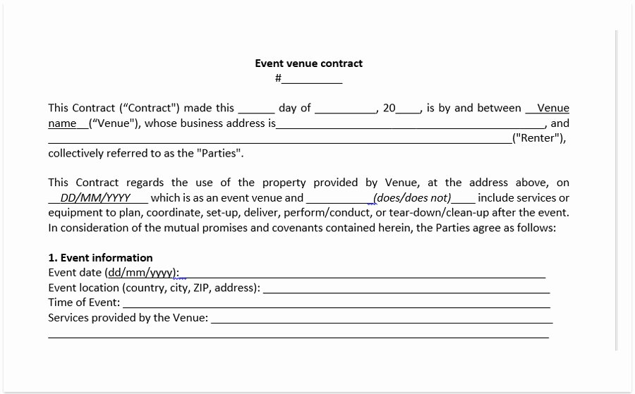 Wedding Venue Contract Template Awesome event Venue Contract Template A Free Pdf Venue