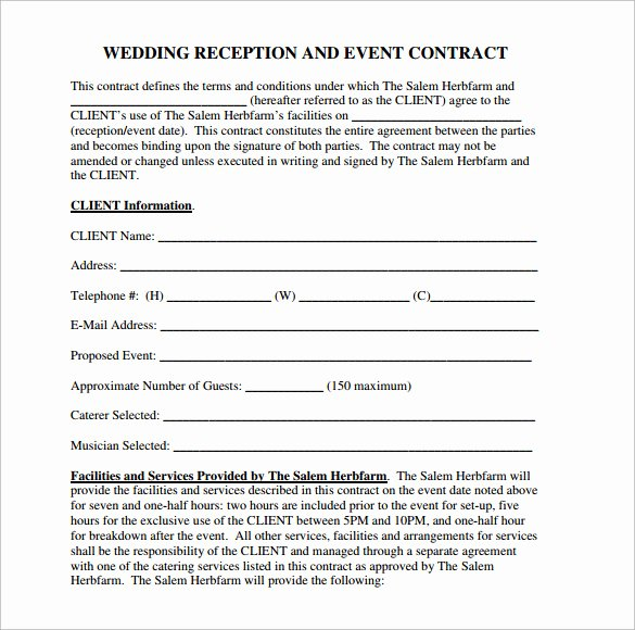 Wedding Venue Contract Template Elegant Wedding Contract Template 24 Download Free Documents