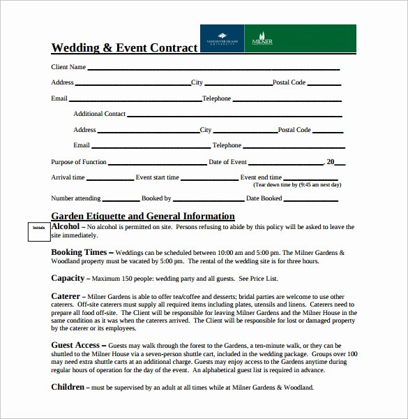 Wedding Venue Contract Template Fresh Wedding Contract Template 18 Download Free Documents